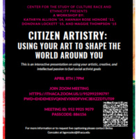 Flyer listing information for the Citizen Artistry workshop virtual event.