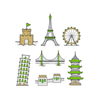 Graphic of buildings that represent places where the languages taught this summer are spoken