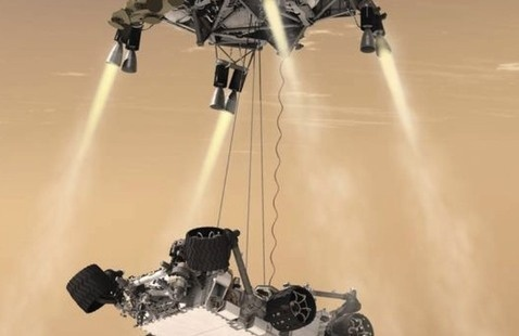 Rendering of Sky Crane landing by Curiosity. Credit: NASA/JPL-Caltech