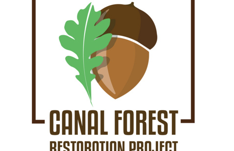 Canal Forest Restoration Project logo: acorn and oak leaf