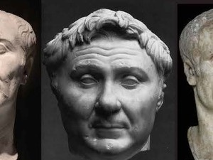 Three Roman busts.