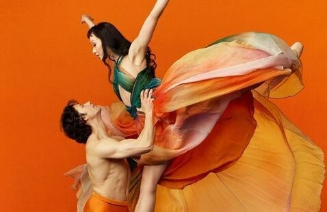 2 people doing ballet. a man is shown holding up a woman. She is wearing a flowing dress with her arms up over her head