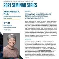 BME Seminar Series: Dr. Ann Saterbak, Duke University