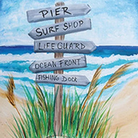Picture of beach canvas painting