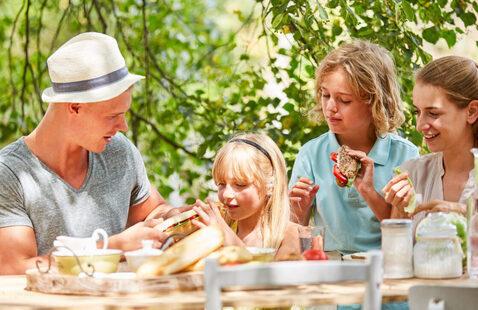 family enjoying dinner