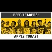 Peer Leaders! Apply Today! There is a picture of several students wearing TCC Proud tshirts. The highlight in the background is yellow.