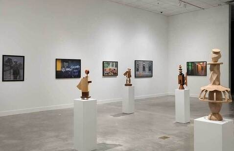 "Installation view of ""Spring 2021 SOAAD Faculty Exhibition"" at the ZMA. Photo by Mike Jenson."
