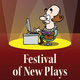 Festival of New Plays. There is a cartoon Shakespeare on this image sitting at a desk with a computer with a spotlight on him.