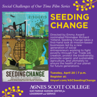 graphic that includes the film poster for Seeding Change on purple