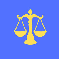 The graphic features a bold blue background and yellow law scales