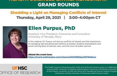April's HSE Grand Rounds speaker Dr. Ellen Purpus.