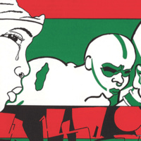 graphic featuring red, green and white colors and black and white text and outlines of people