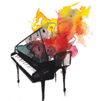 Musical Snacks black grand piano painted in watercolor with  yellow and red freeform watercolor shapes coming out from under the raised lid