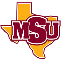 MSU. Letters are inside a yellow Texas shape.