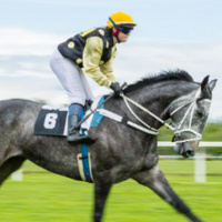Jockey riding gray race horse