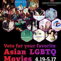 """Black background with honeycomb frames that have Asian movie posters, title reading """"Vote for your favorite Asian LGBTQ Movies"""""""