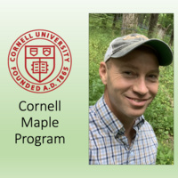"""Headshot of Aaron Wightman, the presenter, along with the seal of Cornell University and the words """"Cornell Maple Program"""""""