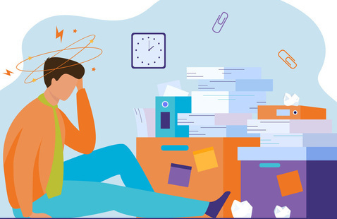 Graphic of stressed worker around piles of paper