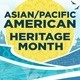 Asian/Pacific American heritage Month. The text on this image is inside a bright yellow circle and there are blue cartoon waves underneath it.