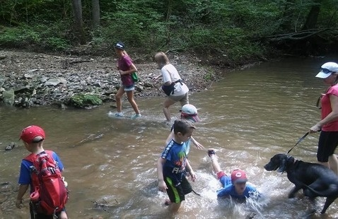 kids in a creek