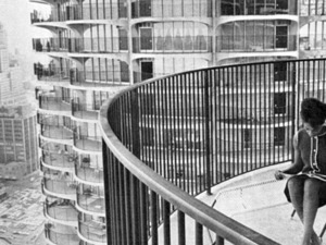 Geraldine Johnson on her Marina City balcony, Chicago, 1964.