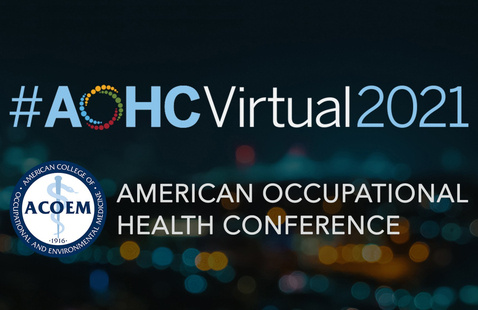 AOHC event hashtag, logo, and conference title over blurred background