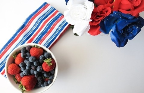 red, white and blue berries with scarves