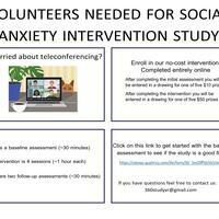 Volunteers Needed for  Social Anxiety Intervention Study