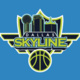 Dallas Skyline Logo: Dallas skyline depicted on a shield with a basketball at it's base.