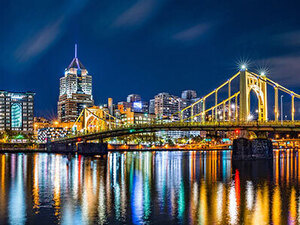 night view of Pittsburgh city skyline