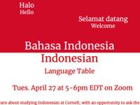 Indonesian Language Table