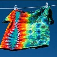 Tye-Dye tee shirt hanging on a clothesline