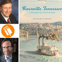 Photograph of Bruce Wheeler and Jesse Fox Mayshark, next to cover of Wheeler's most recent edition of Knoxville, Tennessee