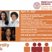 Diversity Week - COVID-19 and Gender: Leadership by Women Scientists in Global Health