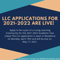 Living Learning Community Application is live!
