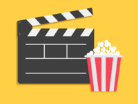 digital graphic of a filmmakers black action board and a tub featuring red and white stripes filled with popcorn. The background of the graphic is gold.