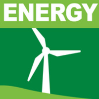 """Green image of a wind turbine with the word """"Energy"""" in white above it."""