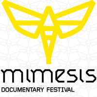 Yellow moth on geometric background with text reading: Mimesis Documentary Festival