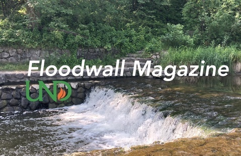 """Floodwall Magazine Avatar Image, featuring the words """"Floodwall Magazine"""" and the UND torch logo super-imposed over an image of a small water fall at Turtle River State Park. Photo courtesy of Karen E. Davis."""