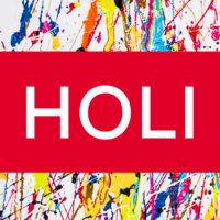 """Paint splatter background with text that reads """"Holi"""""""