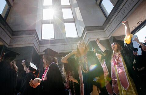 Students participate in graduation ceremonies