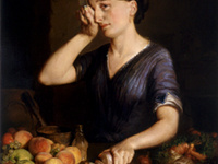 """Lilly Martin Spencer (American, 1822–1902), """"Peeling Onions"""" (detail), ca. 1852."""