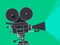 graphic with a bright green background and a black film camera pointed to the right