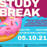 """Picture of a donut with text reading """"Study Break. 05.10.21"""""""