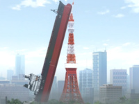 A huge red ship leans vertically against a replica of the Eiffel Tower that is painted in red and white against a smoggy Shanghai urban skyline on a sunny day.