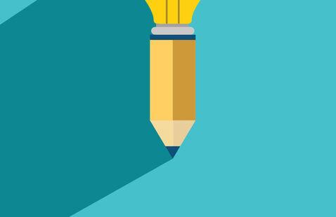 Pencil with a lightbulb
