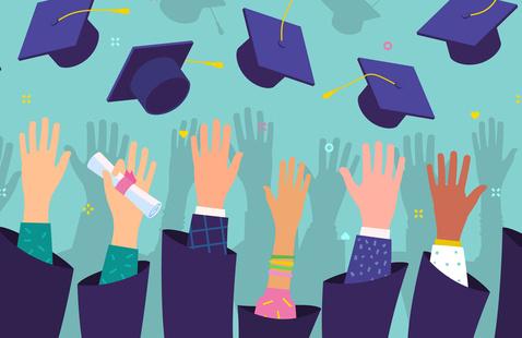 arms in graduation gowns reach upward toward flying graduation caps
