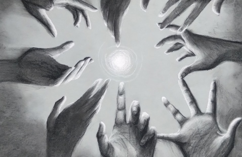 charcoal drawing of hands in a square reaching toward a circle of light