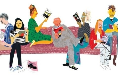 Group of people reading, sitting on a couch.