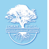 SLS logo featuring a tree with visible roots and the text: I create (positive sustainable change). Service Leadership Seminar.